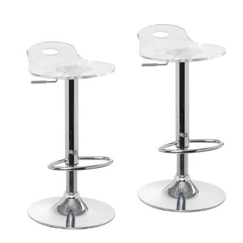 Adjustable Clear Bar Stools Pack Of 2 Oxygen Bar