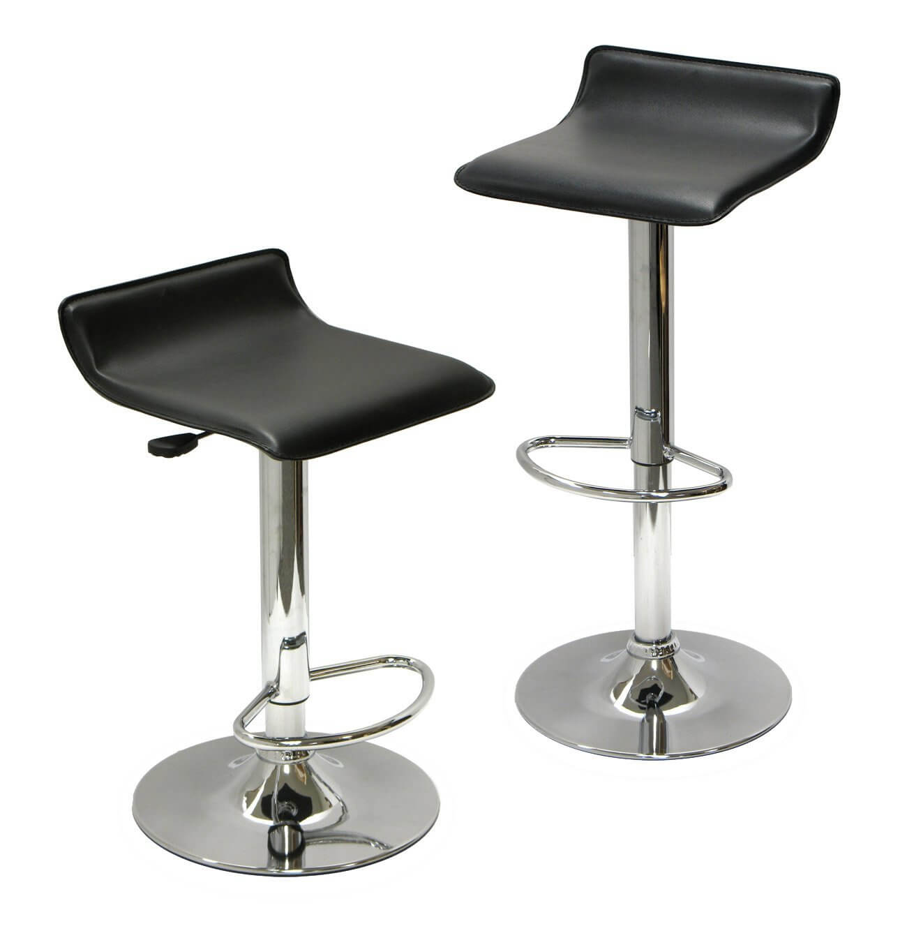 Bar Stools Black, Set of 2