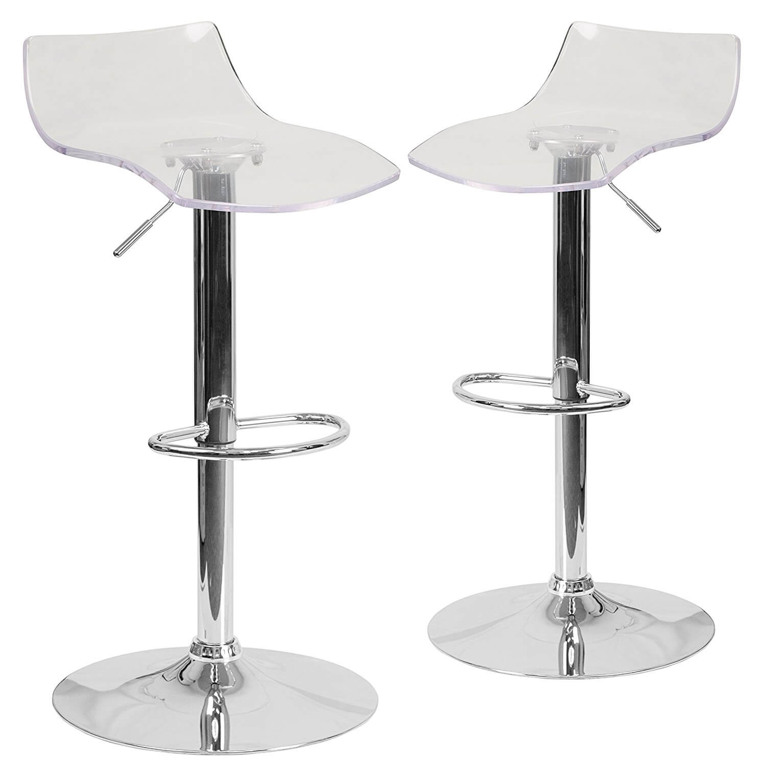 Adjustable Clear Bar Stools, Pack of 2