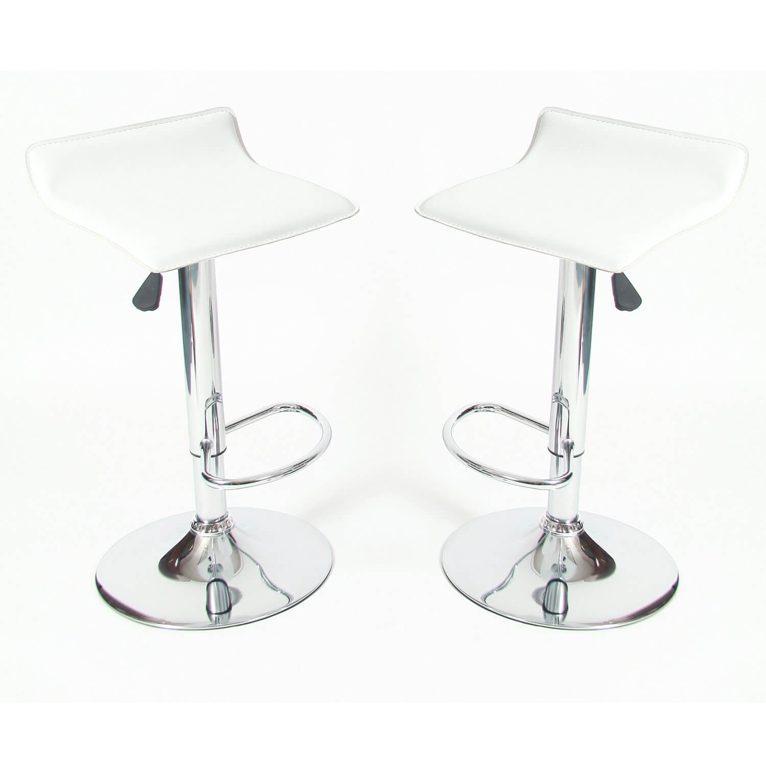 2 Adjustable White Bar Stools Set Of 2 Oxygen Bar
